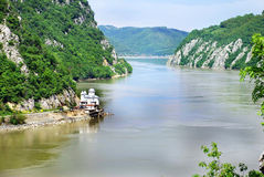 Danube canyon between Serbia and Romania Royalty Free Stock Image