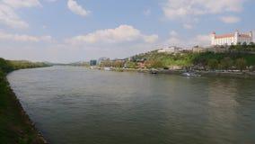 Danube river and castle, Bratislava Slovakia royalty free stock images