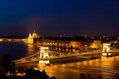 Danube, Chain Bridge and Parliament Budapest Hungary night Royalty Free Stock Photos