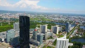 Danube City aerial, Austria stock footage