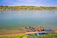 Danube coast in Vukovar landscape view. Croatia Serbia border royalty free stock photos