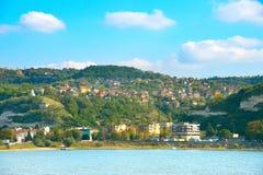 Danube coastal town. Svishtov, Bulgaria. View of small Bulgarian town on a Danube river bank. Shishtov, Bulgaria Royalty Free Stock Images