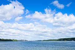 Danube at confluence with river Sava, Belgrade Royalty Free Stock Photo