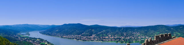 The Danube curve. Panoramic view from hilltop at Visegrad, Hungary Stock Photography
