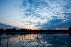 Danube Delta. Beautiful sunrise landscape from the Danube Delta Biosphere Reserve in Romania stock photos