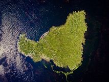 Danube Delta with a boat. Aerial view royalty free stock photos