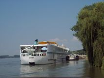 Tourist Ship Cruise on Danube Delta. royalty free stock photography