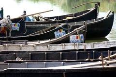 Danube Delta fishermen boats stock photography