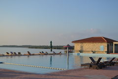 Danube delta infinity pool Stock Photo