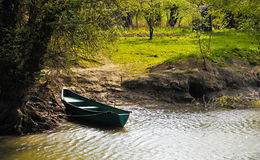 Danube Delta Landscape. With reed water and a boat Stock Photography