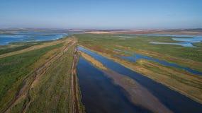Danube Delta, Romania. Aerial view of Danube Delta, Romania, Europe stock photo