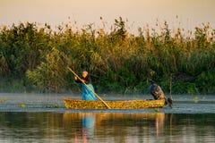 Danube Delta, Romania, August 2017: Fisherman catching fish at s. Unrise in Delta Dunarii, Romania stock photography