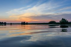 Danube Delta, Romania. Sunset in the Danube Delta, Romania, Europe stock images