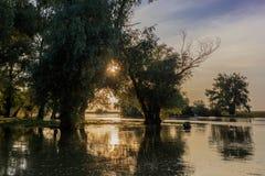 Danube Delta, Romania. Sunset in the Danube Delta, Romania, Europe stock photo