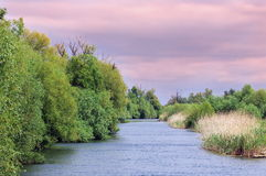 Danube River. Sunset landscape in natural reserve of the Danube Delta - landmark attraction in Romania Stock Photography