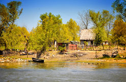Danube Delta traditional house. A danube delta landscape with a fisherman house Royalty Free Stock Image