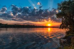 Danube Delta Vegetation and wildlife Sunrise. Sunrise scenery from the wilderness of Danube Delta, blue sky, vegetation and wildlife, raw nature stock images