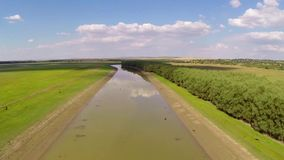 Danube during drought aerial stock video