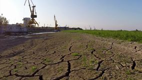 Danube during extreme drought aerial stock video