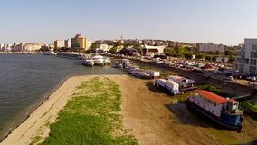 Danube during extreme drought aerial stock video footage