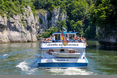 Danube Gorge, Bavaria, Germany, happy people on ship Kelheim - Weltenburg Royalty Free Stock Photo