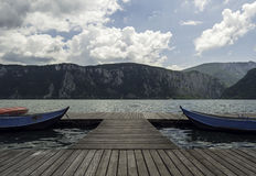 Danube Gorge, boats in symmetry in Mehedinti County, Romania Stock Photos