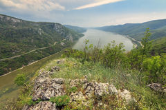 Danube gorge on the Romanian-Serbian border,Cazanele Mari National Park. Danube gorge,seen from the Romanian side Royalty Free Stock Image
