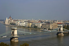 Danube and hungarian parliament and part of chain bridge. royalty free stock image