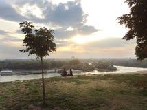 Danube i Sava rzeki w Belgrade, Serbia Zdjęcie Royalty Free