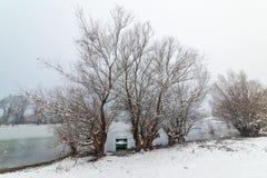 Danube island Šodroš near Novi Sad, Serbia. Colorful landscape with snowy trees, beautiful frozen river. Danube island Šodroš near Novi Sad, Serbia royalty free stock images