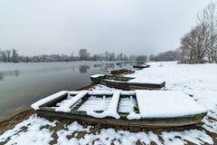 Danube island Šodroš near Novi Sad, Serbia. Colorful landscape with swans and beautiful frozen river. Danube island Šodroš near Novi Sad, Serbia stock photo