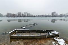 Danube island Šodroš near Novi Sad, Serbia. Colorful landscape with swans and beautiful frozen river. Danube island Šodroš near Novi Sad, Serbia stock photos