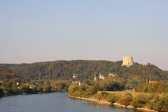 Danube in Kelheim (Germany). Below the legendary Hall of Libertion (Befreiungshalle, Kelheim) is a romantic river danube comming from monastery Weltenburg royalty free stock photo