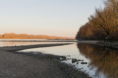 Danube Landscape at Sunset Stock Photos