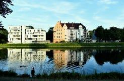 Danube, Niemcy, domy Fotografia Stock