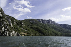 Danube pass through Iron Gates Natural Park stock images