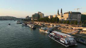 The Danube Promenade. Pest panorama of the Danube - UNESCO world heritage site. stock video footage