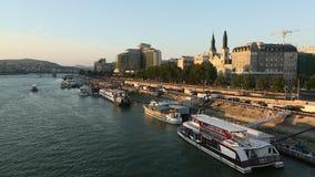 The Danube Promenade. Pest panorama of the Danube - UNESCO world heritage site. stock video footage