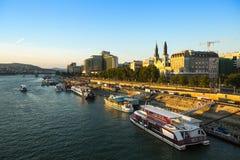The Danube Promenade. Pest panorama of the Danube - UNESCO world heritage site. Stock Photography