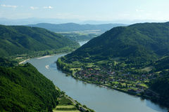 Wachau, Austria. Danube river and Aggasbach Markt in Wachau valley - Austria stock images