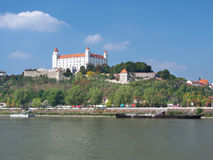 Danube river and Bratislava castle Royalty Free Stock Images