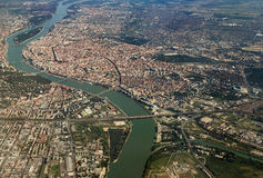 Danube river, Budapest. Aerial view of Danube river crossing Budapest in Hungary, seen from the airplane Royalty Free Stock Images