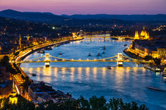Danube river in Budapest, Szechenyi Chain Bridge. Night view with Szechenyi Chain Bridge on river Danube, Budapest, with Orszaghaz Hungary Parliament building Stock Photo
