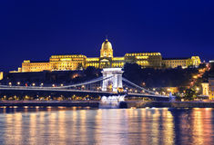 Danube river, Chain Bridge and Buda Castle Royalty Free Stock Photography