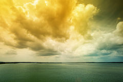 Danube river with dramatic sky Stock Image