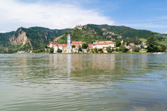 Danube river and Durnstein with abbey and castle, Wachau, Austri Stock Photo