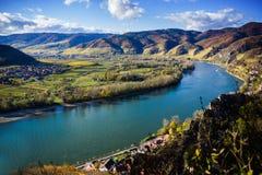 Danube river. Durnstein. Beautiful autumn landscape of Durnstein, Austria royalty free stock image