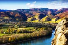 Danube river. Durnstein. Beautiful autumn landscape of Durnstein, Austria stock image