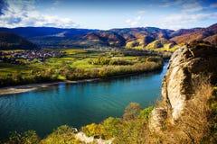 Danube river. Durnstein. Beautiful autumn landscape of Durnstein, Austria stock photography