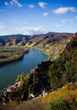Danube river. Durnstein. Beautiful autumn landscape of Durnstein, Austria royalty free stock photo